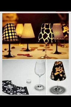 Paper over a wine glass ! Makes it look like a mini lamp! Perfect for center pieces for a wedding. Could even add a flame less candle !