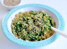 Bulgur mit Spinat und Sesam - ein gesundes schnelles Kleinkind Gericht  //  Bulgur  with spinach and sesame - a quick and healthy toddler dish