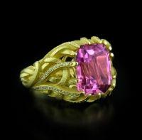 Nicholas Varney Pink Tourmaline Vine Ring