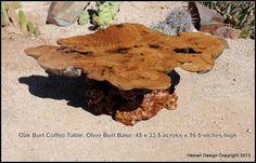 Great Live Oak Burl Coffee Table wood slab Olive by Joni Hamari, $1900.00