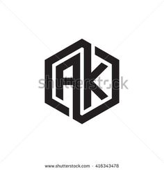 AK initial letters loop linked hexagon monogram logo