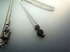 Tiny Black Cat Necklace On Thin Chain by basicjewellerysuppli, $14.70