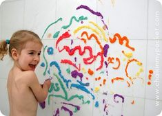 Bathtub puffy paint - easy to make and easy to clean!