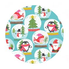 Christmas Carolers Blue - Even a Mouse Collection - Blend Fabrics