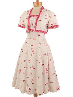 40s White Pink Pique Butterfly Print Sundress Jacket Set