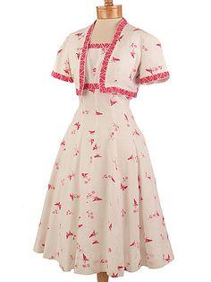 40s White Pink Pique Butterfly Print Sundress Jacket Set