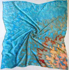 Shawls & Warm Stoles handmade. batik scarf 'turquoise'. OlgaPastukhovaArt. Online shopping on My Livemaster. Silk scarf