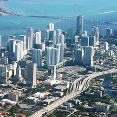MIAMI  Beautiful overhead photograph of the city of Miami, Florida.  Miami is a city located on the Atlantic coast in southeastern Florida and the county seat of Miami-Dade County.
