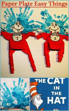 """Thing 1 and Thing 2 Paper Plate Decorations and Preschool Activities. """"The Cat in the Hat"""" by Dr. Seuss. Preschool Math: Intro to Counting Backwards."""