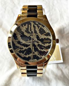 Nuevo Con Etiquetas Michael Kors Para Mujer reloj de oro de tono Slim Runway Zebra Dial mk3315 MSRP $295