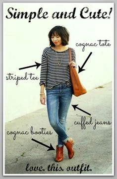 LOVE LOVE LOVE this outfit from Kristine at Kristine or Polly!  Striped tee, cuffed jeans, cognac tote, and cognac booties!