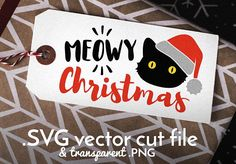 Meowy Christmas holiday greeting cut file. Vector files are designed for Cricut cutting machine, but they can be used with other machines that accept SVG files. NO PHYSICAL PRINTS INCLUDED - THIS IS A DIGITAL FILE ONLY! You will receive: • One Meowy Christmas cat cut file: • .SVG vector