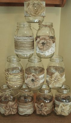 For sale is 10 beautiful handmade mason jar sleeves. Perfect for a rustic wedding! Colors of flowers are tan and light brown. Comes with 5