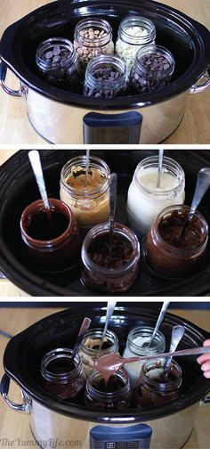 Slow Cooker Melted Chocolate ~ A foolproof, easy way to melt chocolate for drizzling, dipping, and candy making. It stays at a perfect melted consistency for hours! grwat for the different chocolates! Just Desserts, Delicious Desserts, Dessert Recipes, Yummy Food, Tasty, French Desserts, Dessert Sauces, Dessert Buffet, Fudge Recipes