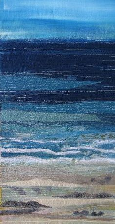 Textile Seascapes 2008 by Naomi Renouf Ocean Quilt, Beach Quilt, Beach Rug, Patchwork Quilting, Textiles, Tapetes Diy, Landscape Art Quilts, Felt Pictures, Thread Painting