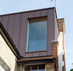 Red Zinc Metal Cladding on loft extension / loft conversion Roof Cladding, Aluminium Cladding, Steel Cladding, House Cladding, Loft Dormer, Dormer Loft Conversion, Dormer Roof, Dormer Windows, Loft Conversions