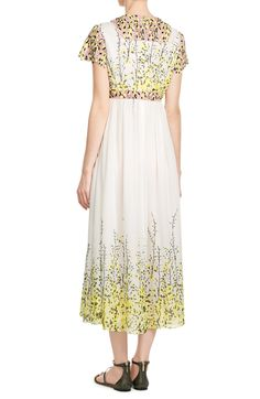 Silk Dress with Embroidered Lace look detail back