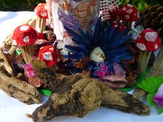 Mushrooms created from egg carton boxes & wood to enhance the setting for the fairy party