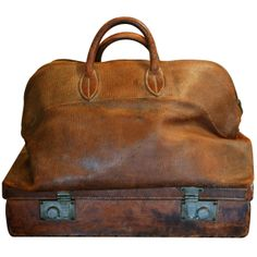 Antique and Vintage Trunks and Luggage - For Sale at Leather Accessories, Vintage Accessories, Vintage Leather, Real Leather, Vintage Luggage, Vintage Bag, Canvas Leather, Leather Bags, Vintage Trunks