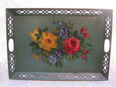 Very Large Vintage Tole Floral Tray Metal from by tessiemay, $32.00