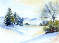 watercolor winter scenes how to paint - Google Search