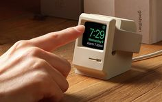 Elago W3 Stand stand makes a charging Apple Watch look like a miniature Macintosh 128K