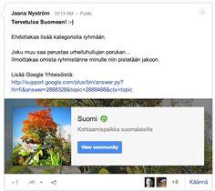 Ryhmä suomalaisille Google+:ssa!