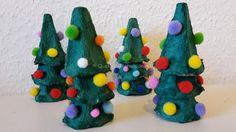 weihnachtsbäume basteln eierkartons