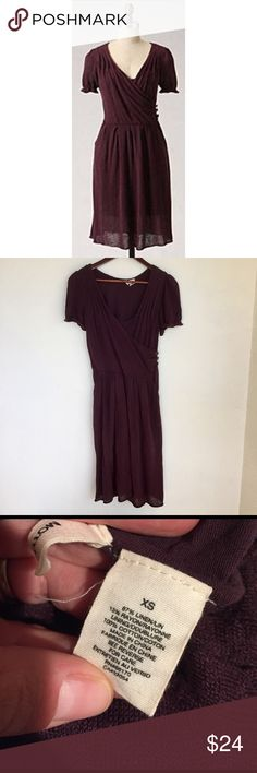 "{ Anthropologie } Side Swept Dress by Moth Excellent condition. Beautiful plum, raisin, purple color. Lined. Length about 38"". Hand wash. See pictures for fabric content. Super comfy. Has pockets! Anthropologie Dresses"
