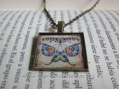 square pendant tutorial with free printable butterfly image sheet