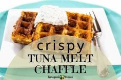 These crispy keto tuna melt chaffles make a perfect lunch or snack for low carb or even carnivore way of eating. Enjoy with the ranch dip! Low Carb Recipes, Snack Recipes, Snacks, Potato Candy, Waffle Maker Recipes, Tuna Melts, The Ranch, Ranch Dip, Recipe Instructions