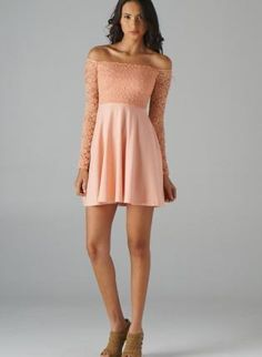 Coral Long Sleeve Dress with Lace Off The Shoulder Top,  Dress, lace dress  off the shoulder, Chic