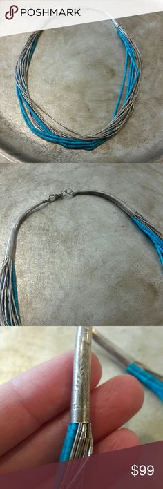 """Vintage Navajo Liquid Silver/Turquoise Necklace Beautiful heavy cone shaped ends marked STERLING with sunburst makers mark, hook closure, 4 strands of seed bead Turquoise, 10 strands of liquid silver, 16"""" Long  ●STERLING SILVER  ● MAKERS MARK SUNBURST ●TURQUOISE  ●14 STRANDS ●HOOK CLOSURE  ●16"""" LONG Vintage Jewelry Necklaces"""