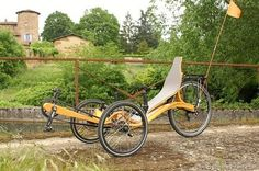 Recombent bicycle made of beech wood