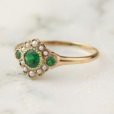 Antique Emerald Pearl Halo Ring in 14k Rose Gold