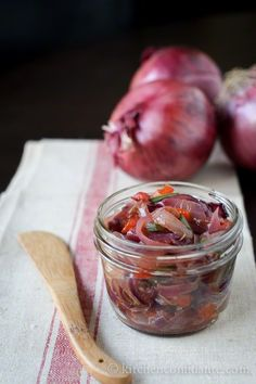 Rustic Red Onion Relish    1-2 medium red bell peppers  2 jalapeno peppers  2 tablespoons olive oil  2-3 large red onions, sliced (about 3 cups)  2 tablespoons sherry vinegar  1 teaspoon kosher salt  1/2 teaspoon freshly ground pepper