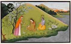 Illustration to a Gita Govinda Series: Radha Rejects Krishna's Pleading Punjab Hills, Guler. Attributable to a Master of the first generation after Nainsukh circa 1775 Opaque watercolor heightened with gold on paper