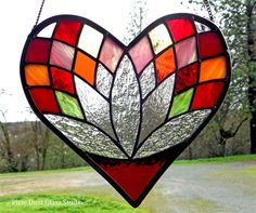 Stained Glass Heart Suncatcher, Lotus Flower Window Hanging, Red, Pinks & Oranges with Clear Textured Glass, Valentine's Gift Idea