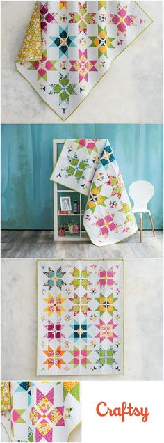 Dash to the Finish Daisy Delights Quilt Kit by Craftsy.com. Star quilt kit features Lily and Loom fabrics by Monique Dillard. Fun modern bright star quilt kit. Quilt kit includes fabrics and quilt pattern. Available at craftsy. affiliate link.