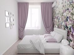 Small room bit its look like luxurious room. Small Room Bedroom, Home Bedroom, Bedroom Decor, Purple Bedrooms, Bedroom Colors, Home Room Design, House Design, Interior Design Living Room, Living Room Designs