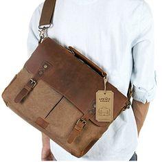 "nice Lifewit Leather Vintage Canvas Laptop Bag, 13""(L)x10.5""(H) x 4.1""(W), Coffee"