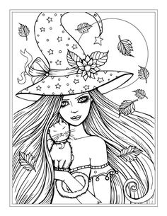 Free Witch and Cat Halloween Coloring Page by Molly Harrison