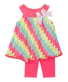 Take a look at this Pink Chevron Lace Tunic & Leggings - Infant, Toddler & Girls on zulily today!