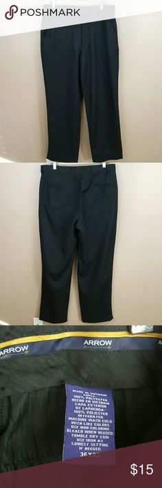 Mens Black Slacks by Arrow, Size 36x32 Mens black slacks by Arrow. • Size 36x32. Waist was and adjustable band inside(last pic). • 100% polyster. Fabric is super soft! Machine washable.  • Lightly used. One tiny fabric snag on bottom on left leg. Great black slacks for work, interviews or special occasion! Arrow Pants Dress