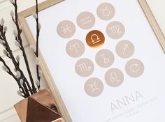 Personalized Zodiac-posters ✨ Are you born as a star in Libra?e the star will glow in copper! Libra, Zodiac, Glow, Copper, Posters, Design, Kids, Virgo, Poster