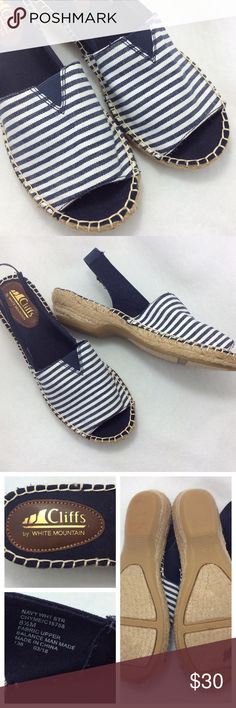 """Nautical Striped Peep-toe Nautically inspired navy and white striped canvas sandal; peep toe and sling back. Slight .5"""" incline. Like new condition. Shoes Sandals"""