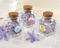 Petite Treat Personalized Square Glass Favor Jar with Cork Stopper (Set of 12)