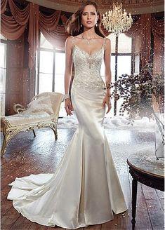 Glamorous Stretch Satin Spaghetti Straps Neckline Mermaid Wedding Dress With Beaded Lace Appliques