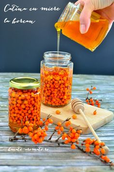 "Seabuckthorn is named ""the immunity queen"". Put it in a honey jar for a cold season without colds. (in Romanian) Vegetarian Recipes, Cooking Recipes, Healthy Recipes, Diy Kitchen, Healthy Eating, Honey, Food, Manual, Homemade Things"