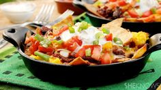 Make these Mexican chili chilaquiles in personal-size pans for a delicious breakfast